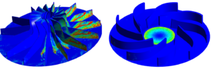 Comparative picture showing the differences in erosion rate depending on the fan design method